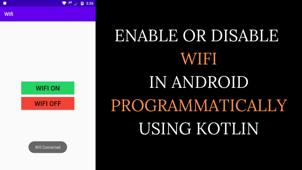 Enable or Disable Wifi In Android